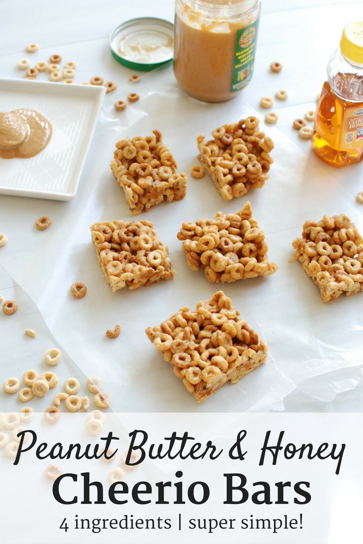 These peanut butter honey cheerio bars are a perfect snack to satisfy your sweet tooth!  Made with just 4 ingredients, these are also gluten free and dairy free. | cheerio treats | healthy cereal bars | #food #recipe #cereal #bar #cheerios #cheeriobar #snack #dessert