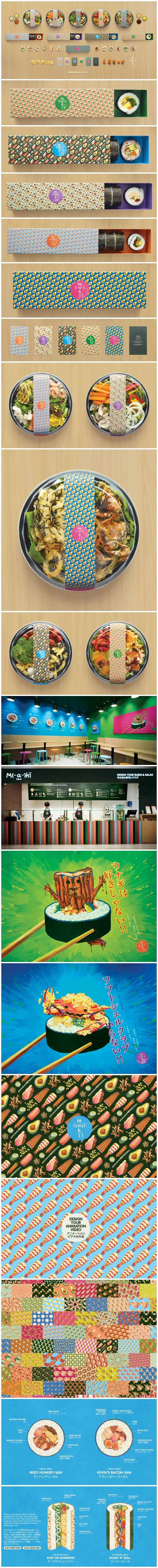 Maki-San Sushi Store / Corporate Design / Verpackungsdesign mit poppigen Farben und Essensmustern