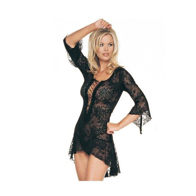 LEG AVENUE SPANISH LACE MINI DRESS WITH G-STRING. Fantástico picardías de encaje floral en negro con tanga a juego con entrelazado decorativo en el escote, mangas acampanadas y efecto cola en la parte trasera. Los encajes en tu ropa interior y la lencería femenina negra son muy favorecedores para el físico de todas las mujeres, te darán un look elegante y sugerente a la vez. Irradiarás una sensualidad sutil y lucirás muy femenina. El encaje es un clásico que no puede faltar en tu armario ...