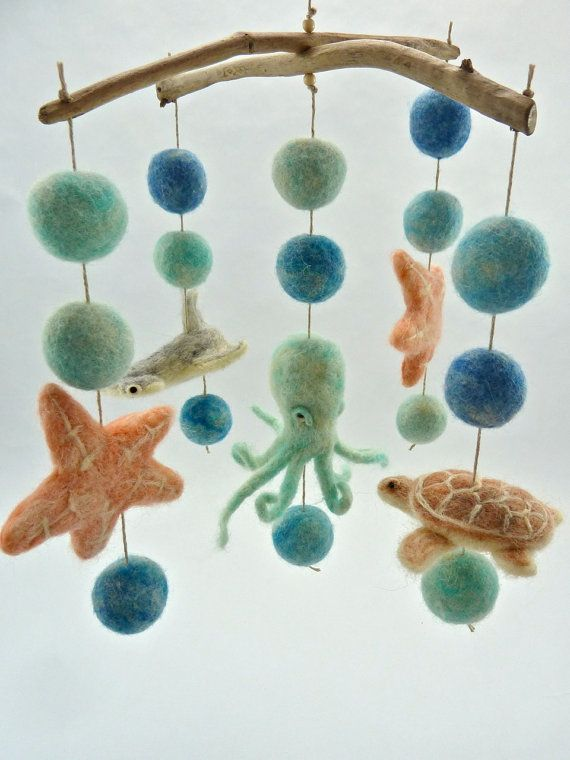 Sea Creature Mobile, Hammerhead, Octopus, Star Fish, Sea Turtle, Muted Colors, Baby Mobile, Sea Blues, coral