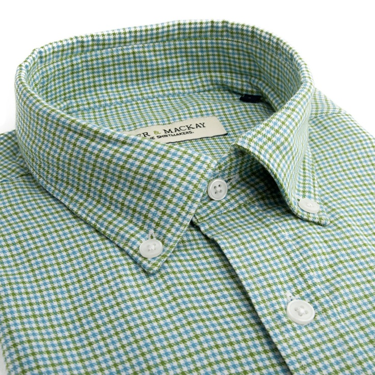 Green & Blue Otterwich Check Casual Fit - Button Cuff http://www.spierandmackay.com/product_information/1613_green__blue_otterwich_check_casual_fit___button_cuff