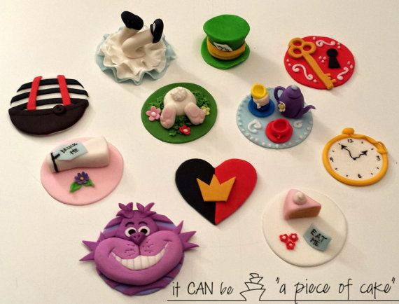 alice in wonderland cupcake toppers fondant edible hand-made
