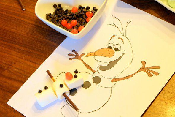 3 chamallow + 2 mikado + 1 tictac + 5 pépites de chocolat = Olaf