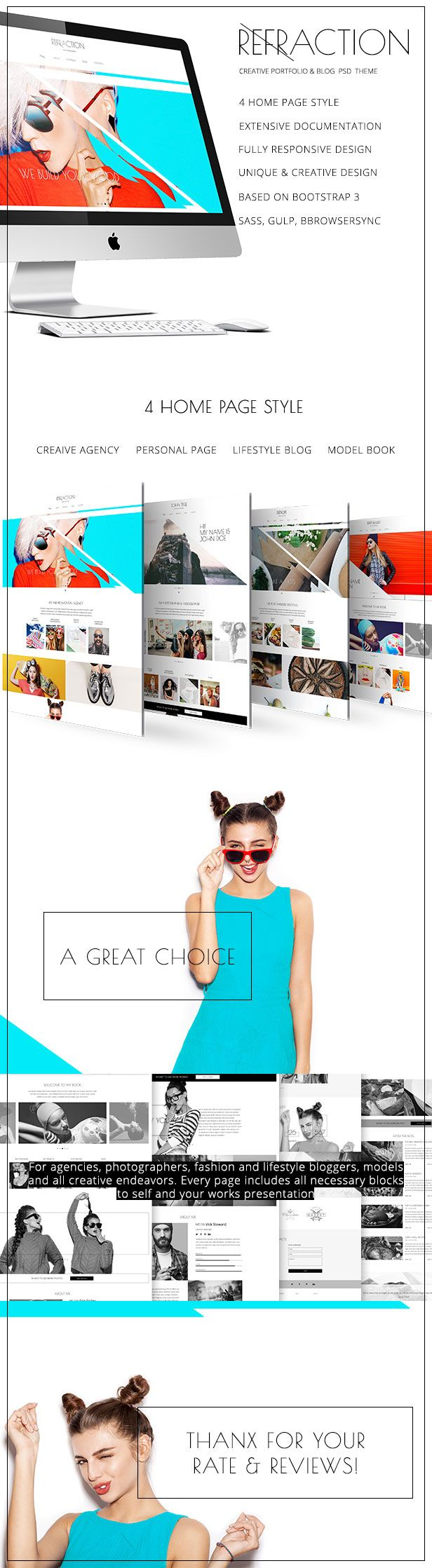 Refraction  Agency Personal Lifestyle Unique & Creative HTML Template (Creative)