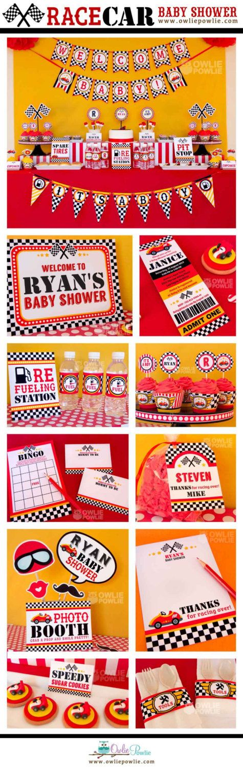 Race Car BABY Shower Party Printable Package & by OwliePowlie, $29.00
