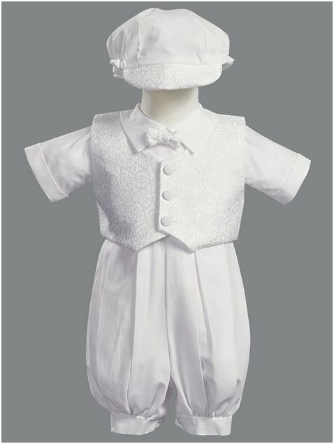 Boys Christening Romper With Hat White Christening