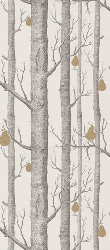 Woods wallpaper restyled with metallic pears