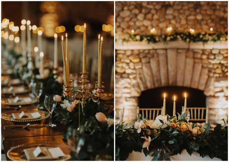 Gold candelabras in a lush greenery garland wedding redemption table decor.