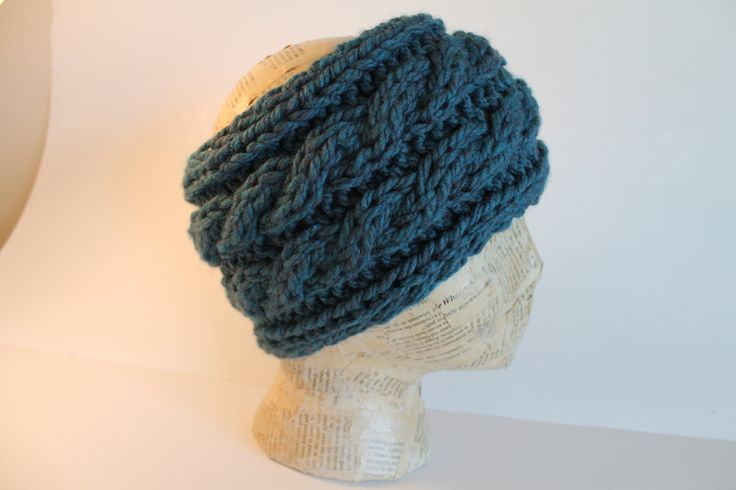 Hand Made Cable Knit Headband Head Warmer Dark Teal Blue by FunkieFrocks on Etsy
