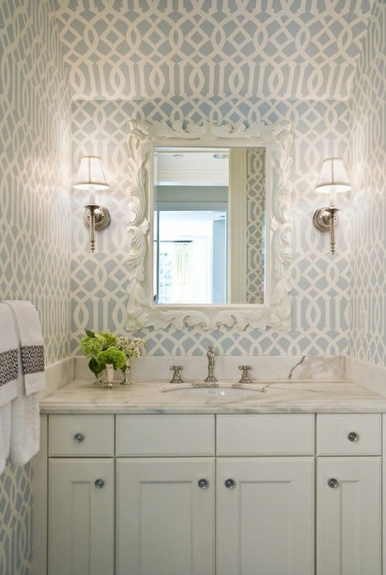 Pic Of Chic small imperial trellis powder room design with Kelly Wearstler Soft Aqua Imperial Trellis wallpaper white ornate mirror white bathroom cabinet vanity