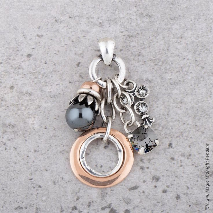 #migliojewellery Magic Midnight Pendant - Rose gold and burnished silver plated cascade pendant with black hematite and created with Swarovski® crystals EN1246