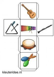 verteldobbelsteen muziekinstrumenten 1 met lesideeën, kleuteridee.nl, story dice free printable