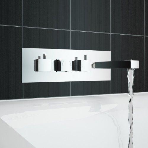 BS002 TMV2 Square Thermostatic Triple Valve Bath Shower Mixer Wall Taps