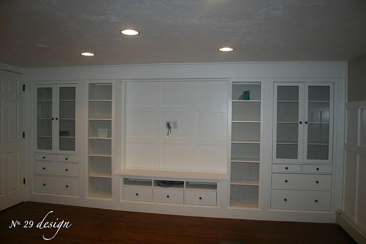 "Hemnes 2 glass doors cabinet, 1 tv bench 58 5/8 ""x 18 1/2 ""x 22 1/2"", 2 bookcases 19 1/4"" x 14 1/8"" x 77 1/2"""