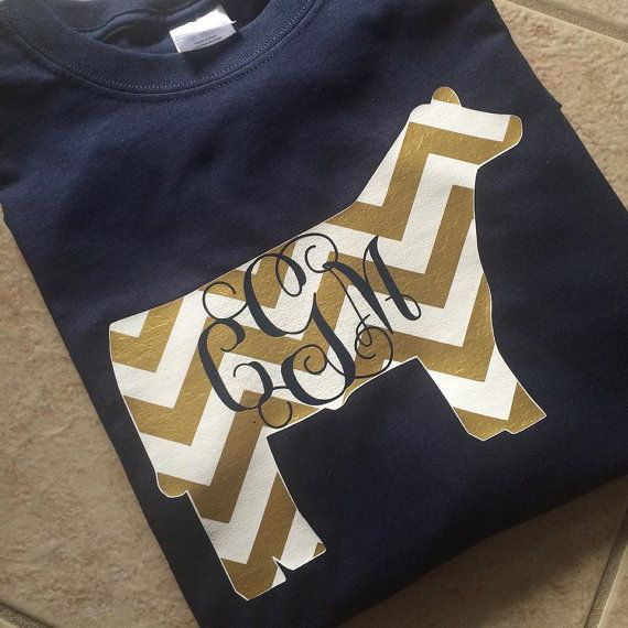 Custom/Personalized Vinyl Chevron Show Cow by HappyAsALarkBoutique