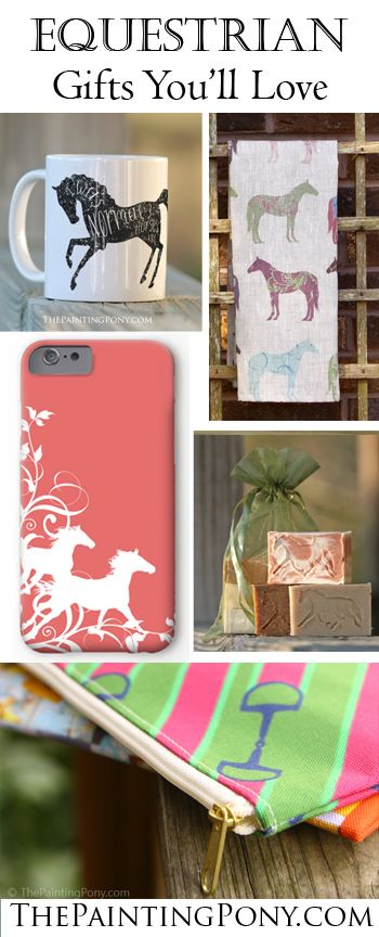 Ten Great Gifts for the Horse Lover! Any equestrian from the hunter jumper, dressage, or show jumping rider, to the western cowgirl rodeo barrel racing horseback riding enthusiast will enjoy these gift ideas! Cute horse mugs, equestrian tea towels, and cute phone cases are just a few of the great gifts for the horse lover found here.