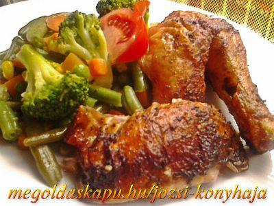 Csirke egészben sütve http://megoldaskapu.hu/csirke-receptek/csirke-egeszben-sutve • 1 db egész csirke • 5 cl olíva olaj • 1 db chili paprika • só • 1 mk szárnyas fűszerkeverék • 1 ek durvára darált bors • 1 mk őrölt kömény • 3-4 gerezd fokhagyma