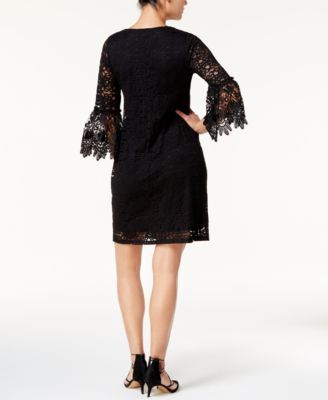Alfani Petite Lace Bell-Sleeve Dress, Created for Macy's - Black 12P