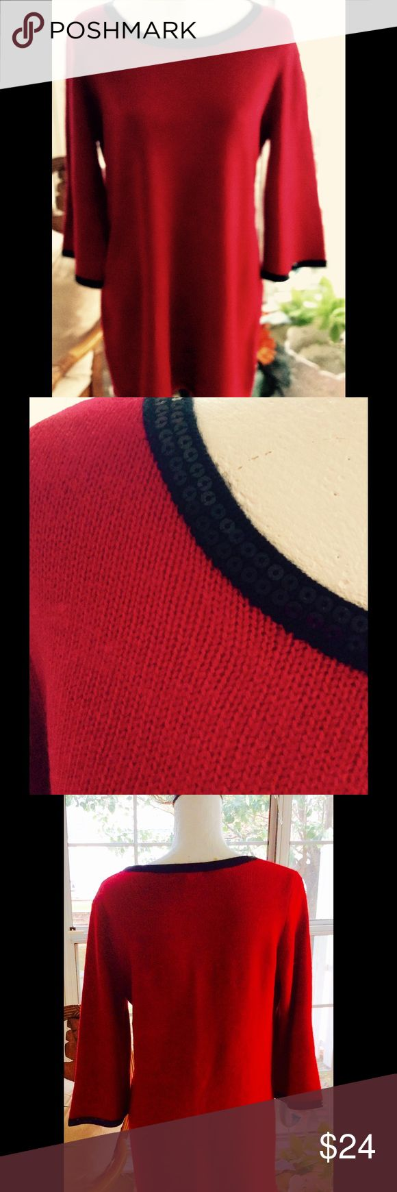 Tunic/Dress Beautiful red tunic/dress with black sequins on collar and cuffs.  This can be worn as a dress depending on your height.  Very nice sweater and dressy for a holiday event. Style & Co Tops Tunics