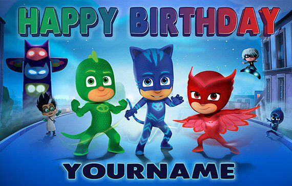 Pj Masks Personalize Birthday Banner By Specialtybanners On Etsy