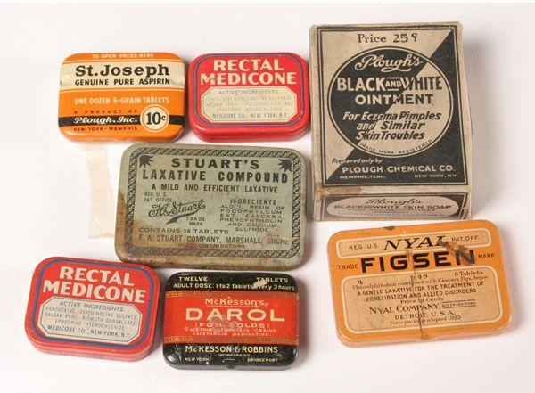 vintage tins | Medicine Boxes Headache Tins Cobalt Lotion 20pc | Antique Helper