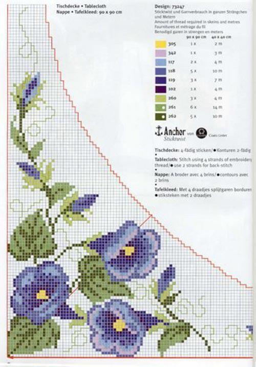 esquemas mantel en punto de cruz flores azules | En Punto de cruz