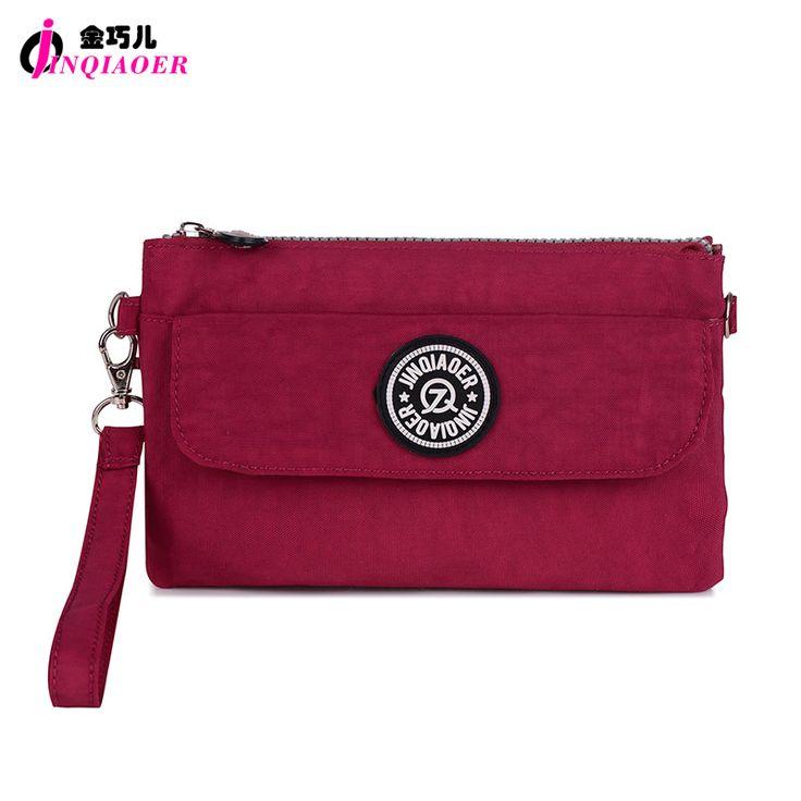 JINQIAOER Brand Nylon Wallet Double Layer Zipper Coin Pocket Organizer Purse Hand Bag Wristlet Clutch Slim Wallet For Girl