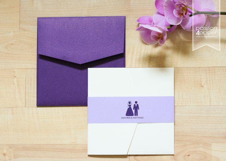 Einladungskarte Zur Hochzeit, Pocketfold Mit Drei Einlegern, . Mit  Hochzeitslogo/Piktogrammen, Individuelles Hochzeitslogo In Lila, Flieder  Und Mintgrün. ...