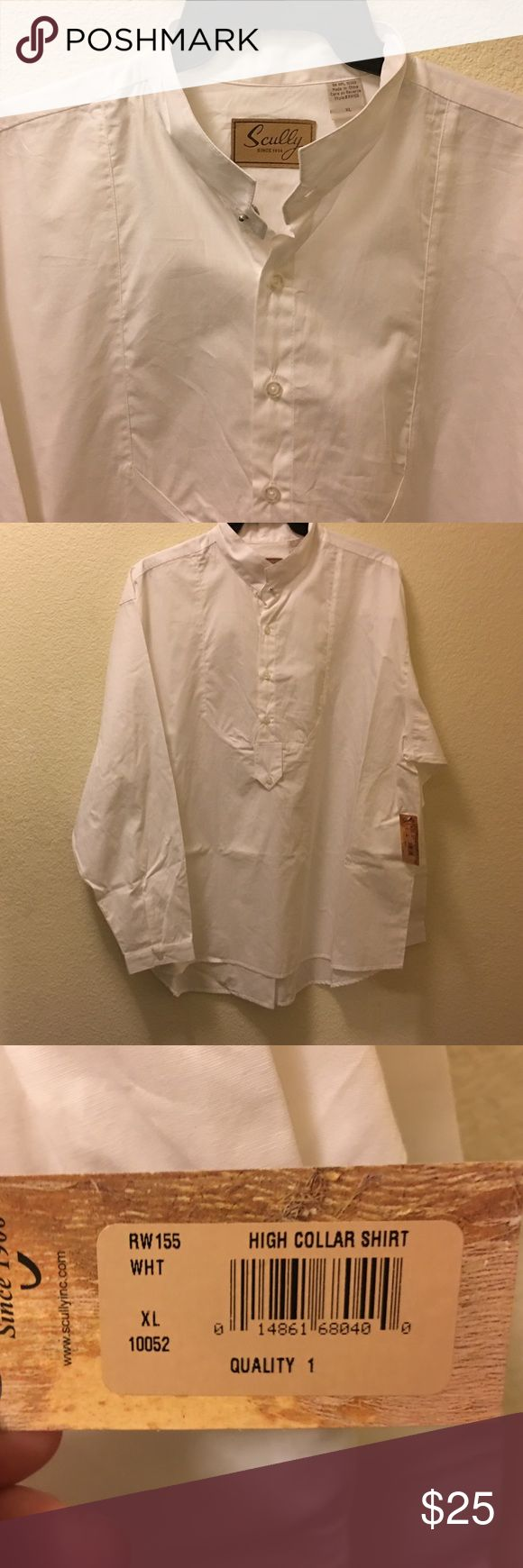White long sleeve Scully high collar shirt White 100% cotton Scully XL high band shirt. It has the bib setting like old school western and Victorian shirts. It has a nice high band with collar stud. High enough to wear an cravat around. This shirt has never been worn. Bought it for Dickens fair but went with another. Scully Shirts Dress Shirts