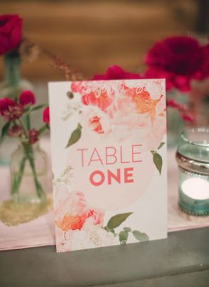 Bold Floral Table Numbers Miss Wyolene Lauren Fair Photography 300x410 Wedding Stationery Inspiration: Bold Florals