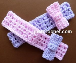 Free baby crochet pattern for headband with bow http://www.justcrochet.com/headband-bow-usa.html #justcrochet #patternsforcrochet