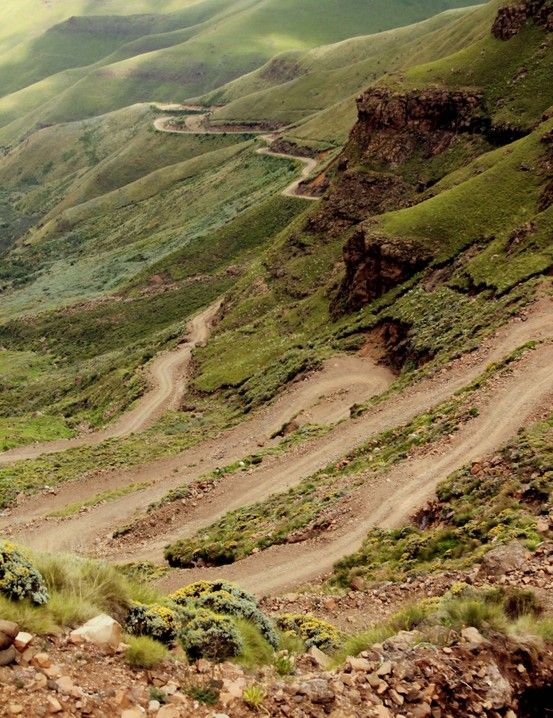 The winding road of the Sani Pass, South Africa/ Lesotho