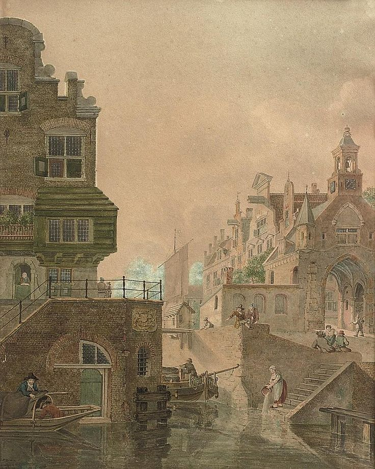 Jan Hendrik Verheijen (Utrecht 1778-1846)  A Dutch town, said to be Utrecht, showing buildings along a canal  signed and dated on the 'verso': 'J:H: Verheijen . f 1814'