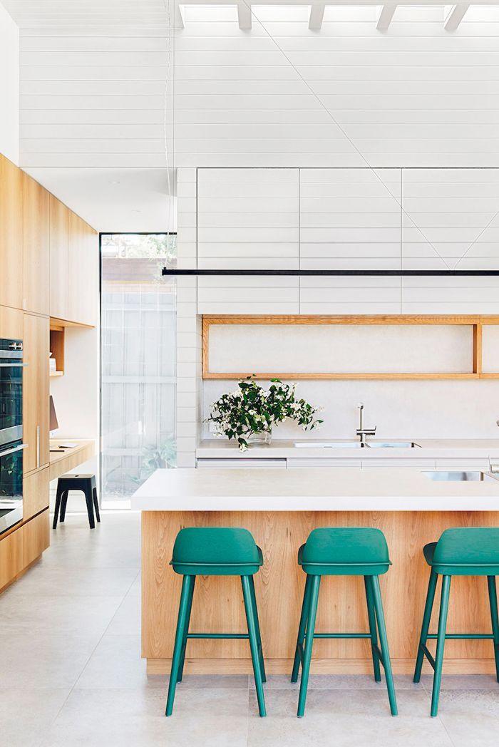 Wood & white kitchen   via @MyDomaineAU