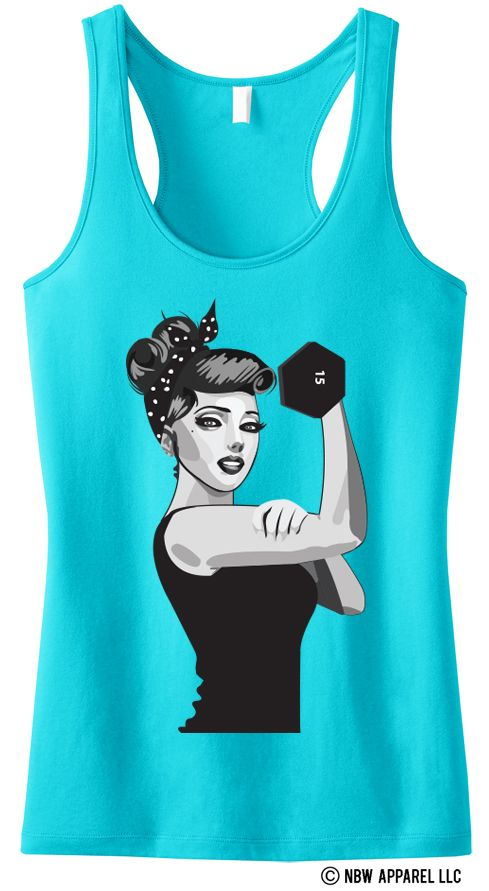 """Who run the world? Girls! Express your inner strength with this comfy and statement making workout tank top! Def won't find this beauty in stores! """"MODERN ROSIE the RIVETER"""" Racerback Tank by NoBullWoman."""
