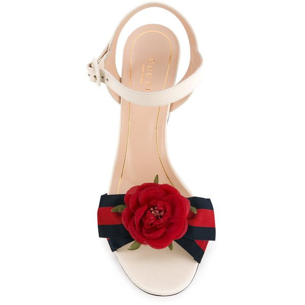 Gucci rose mid heel sandals ($795) ❤ liked on Polyvore featuring shoes, sandals, ankle strap sandals, white leather shoes, chunky-heel sandals, chunky heel sandals and gucci sandals