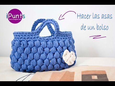 Tutorial: Hacer asas para bolso o cesta a crochet o ganchillo - YouTube