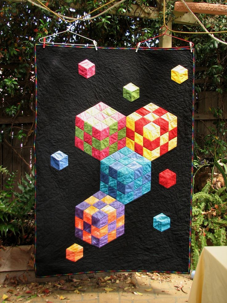Cube quilt (quilt of illusion), Scout raffle quilt, posted by QuiltnNan (Canberra, Australia) at Quilting Board