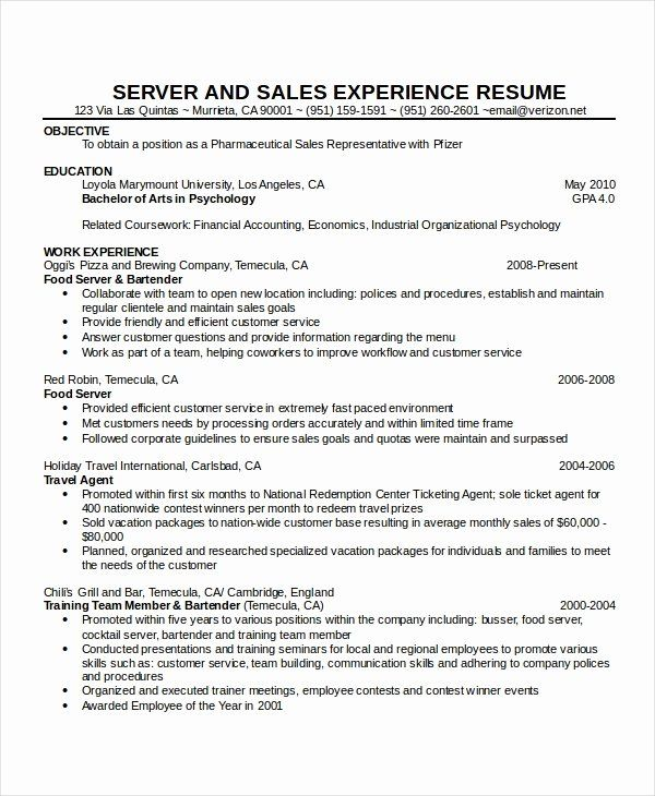 Travel Agent Resume Sample Beautiful 90 For Waitress Resume Samples Resume Format In 2020 Server Resume Resume Examples Sample Resume