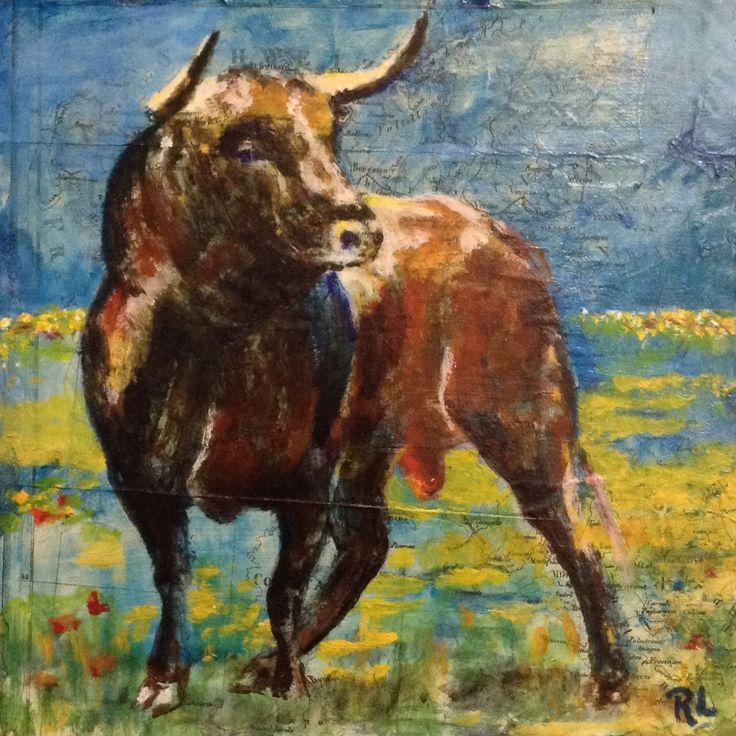 #Mixed media#the Bull #20x20#mdf#rithva