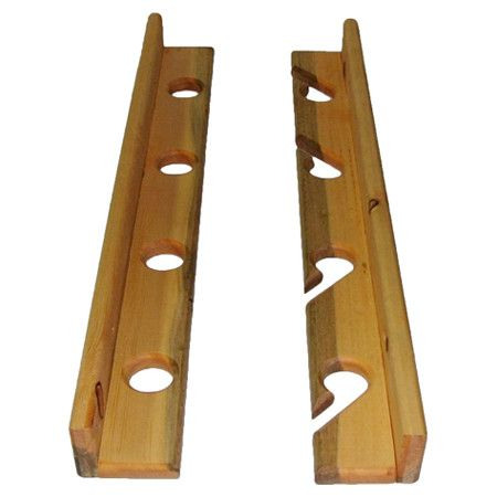 Pine wood fishing rod rack with a golden pecan stain finish and wall mounting hardware.  Product: Fishing rod rackCo...