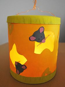 Idee voor het maken van een lampion - Kaas met muisjes