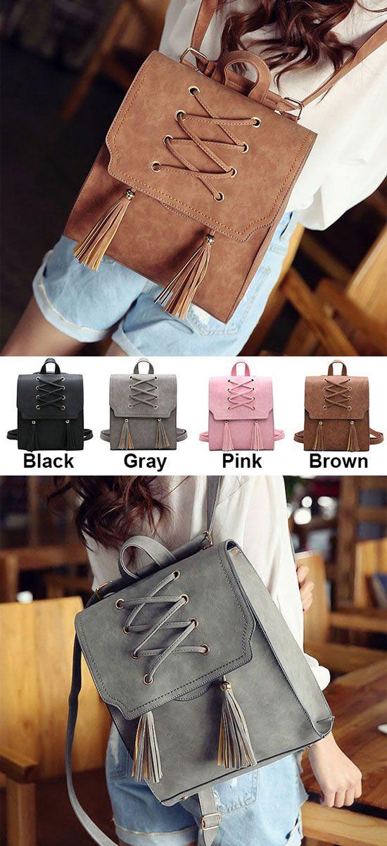 Retro Tassels Flap Square Weave Gray Leisure Girl's Cross Bandage Travel Backpack for big sale! #cross #tassel #retro #large #scrub #school #college #student #bag #backpack #cute #fashion #nice #travel