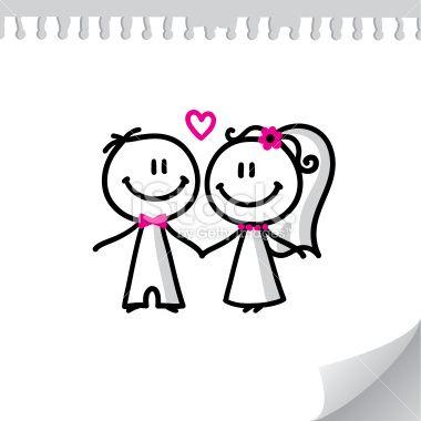 cartoon wedding couple Royalty Free Stock Vector Art Illustration