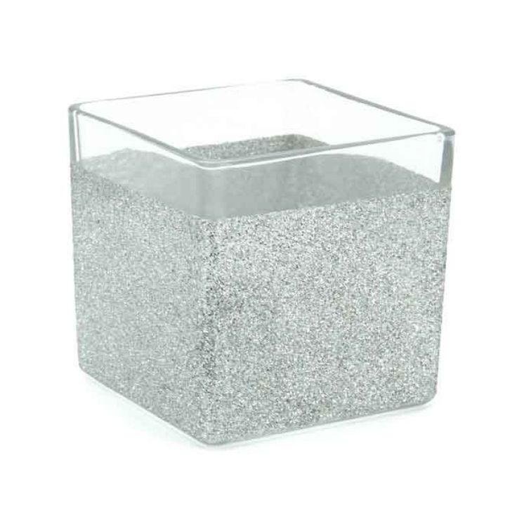 Glass Silver Glitter Square 12Sq cm (LE-SQ12) | Oceans Floral-We stock competitively priced quality glassware in a large range of styles. Whether you need glass vases, fish bowls, bottles and jars, hanging vases or an elegant showcase piece, we have the latest styles and a fantastic variety of glass vessels to cover all occasions. Weddings, DIYwedding, Centrepiece, Event planning.