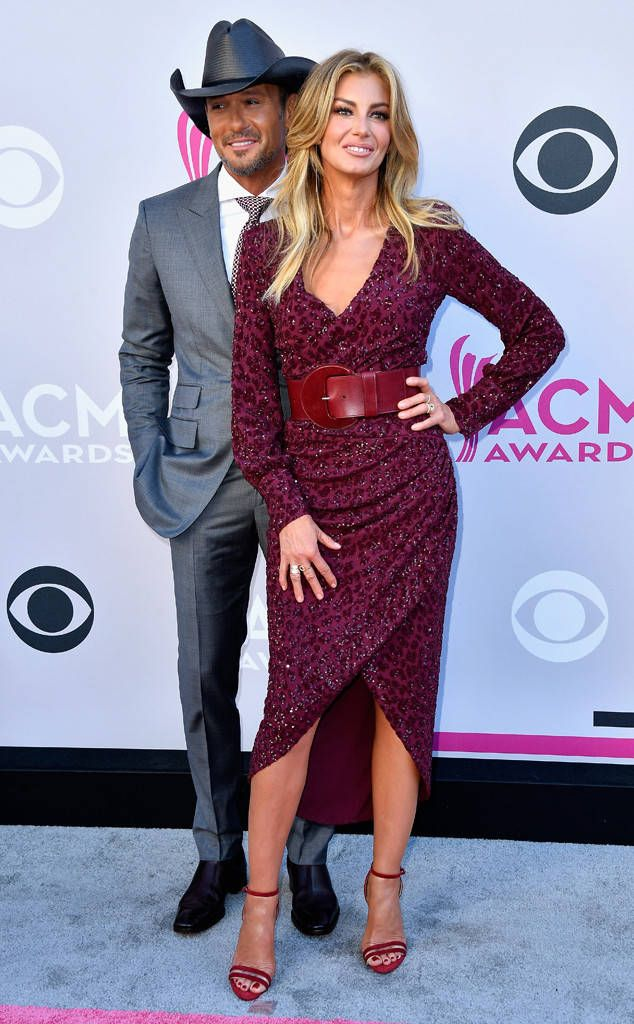 Shortly before taking the stage to perform their latest collab, Tim and Faith hit the carpet looking fly.