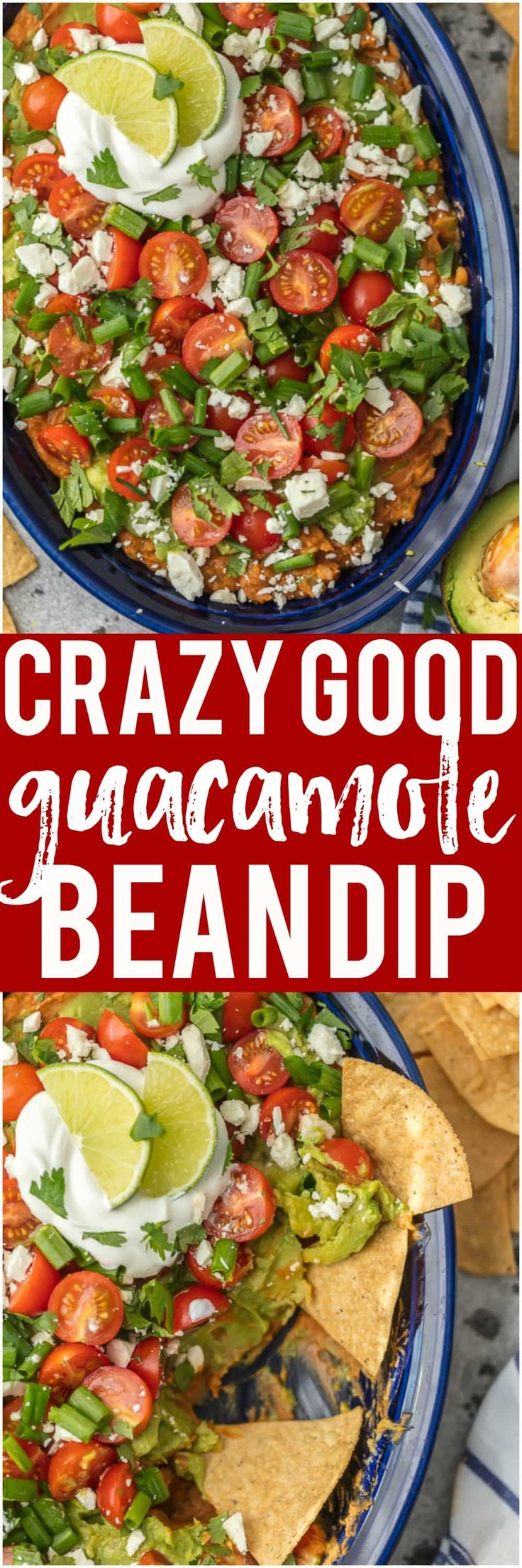 This CRAZY GOOD GUACAMOLE BEAN DIP is layered with spicy refried beans, guacamole, green onion, tomatoes, feta, and more. SO delicious and made in minutes! via @beckygallhardin