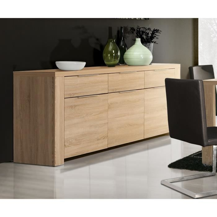 buffet en bois agglom r coloris ch ne sonoma clair. Black Bedroom Furniture Sets. Home Design Ideas