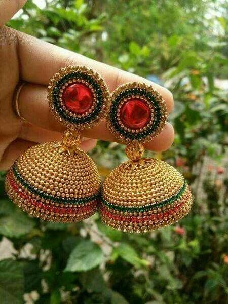 Silk thread ear rings