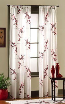 Asian Bedroom Cherry Blossom Tab Top Drapes